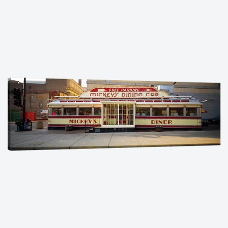 Facade Of Mickey's Diner Restaurant Canvas Print #PIM14636} by Panoramic Images Canvas Print