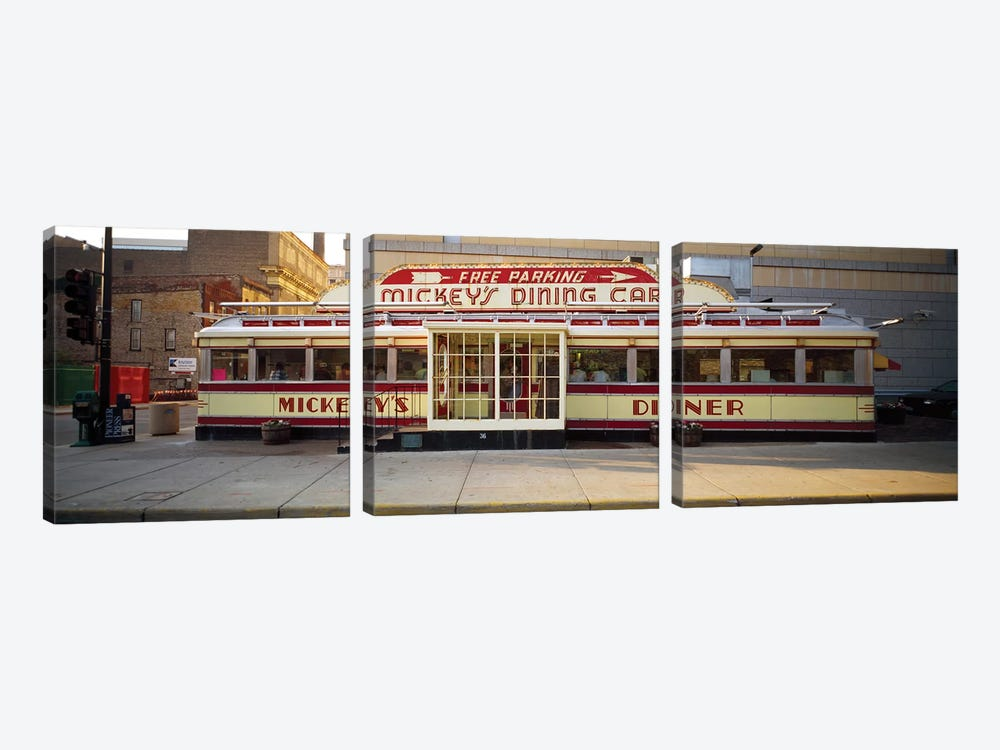 Facade Of Mickey's Diner Restaurant by Panoramic Images 3-piece Canvas Art Print