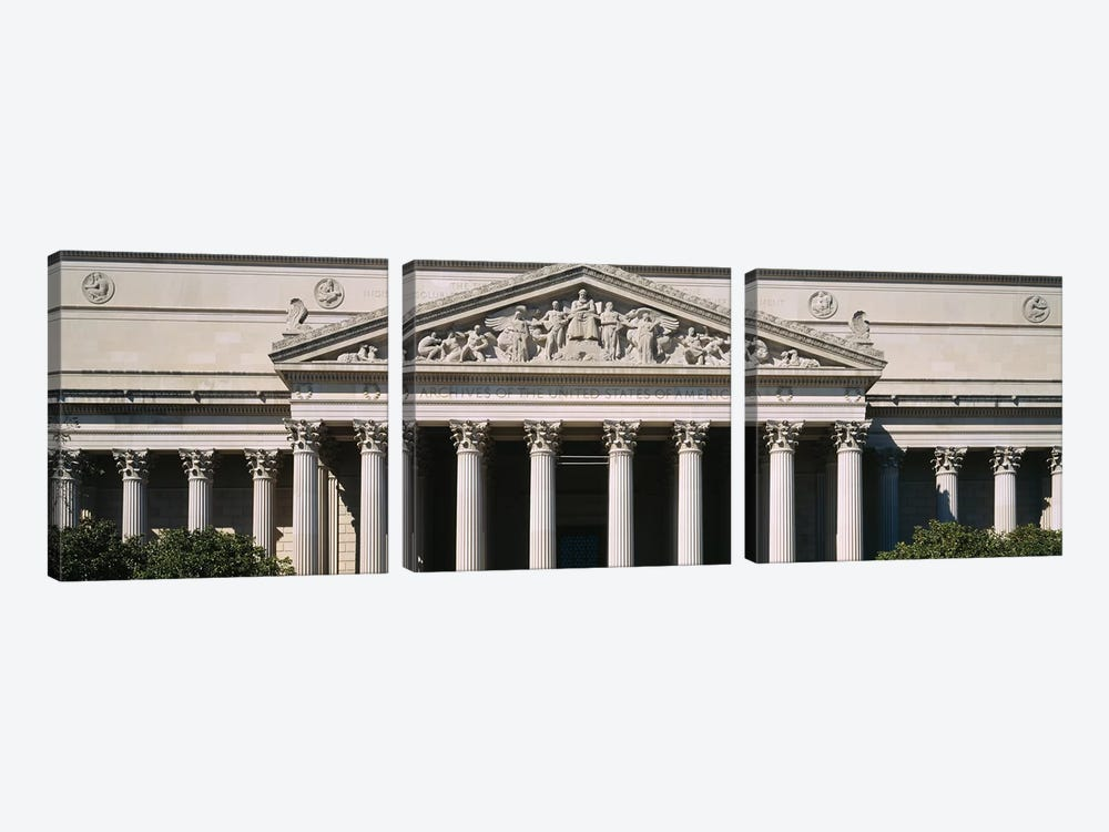 Facade Of The National Archives Building, Washington D.C., USA by Panoramic Images 3-piece Canvas Wall Art