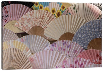 Fans For Sale At A Market Stall, Kyoto Prefecture, Japan Canvas Art Print