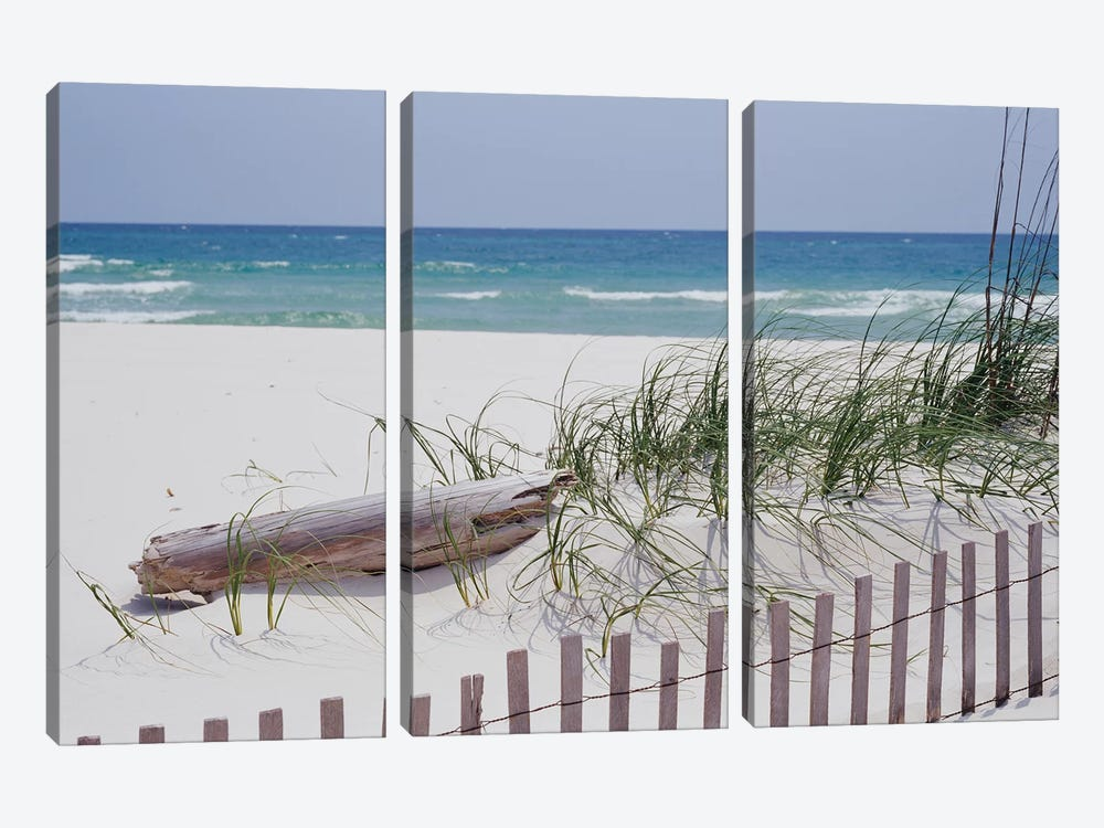 Fence On The Beach, Alabama, Gulf Of Mexico, USA by Panoramic Images 3-piece Canvas Art Print