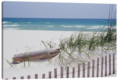 Fence On The Beach, Alabama, Gulf Of Mexico, USA Canvas Art Print