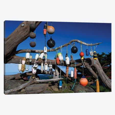 Floats Hanging On A Tree, Battery Point Lighthouse, Crescent City, California, USA Canvas Print #PIM14659} by Panoramic Images Canvas Wall Art