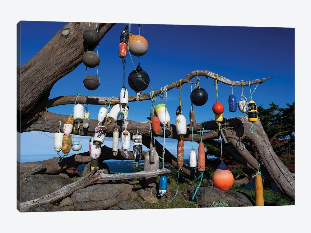 Floats Hanging On A Tree, Battery Point Lighthouse, Crescent City, California, USA by Panoramic Images 1-piece Canvas Artwork