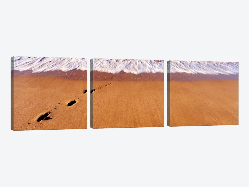 Footprints In Sand On The Beach, Hawaii, USA 3-piece Canvas Artwork