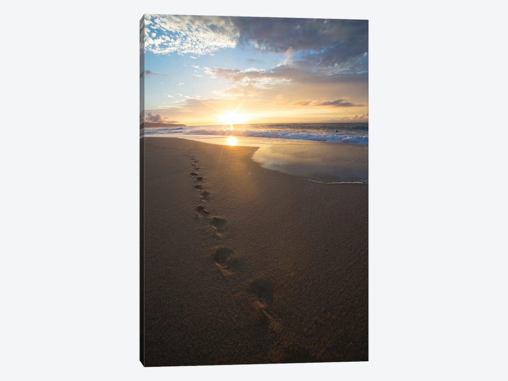 Footprints On The Beach At Sunset, Oahu, Hawaii, USA by Panoramic Images 1-piece Art Print