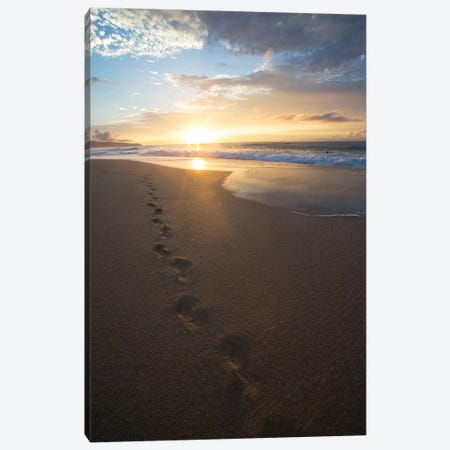 Footprints On The Beach At Sunset, Oahu, Hawaii, USA Canvas Print #PIM14663} by Panoramic Images Canvas Art Print