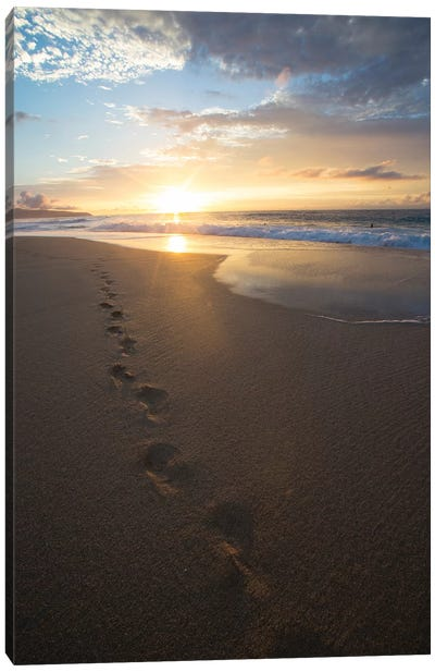 Footprints On The Beach At Sunset, Oahu, Hawaii, USA Canvas Art Print
