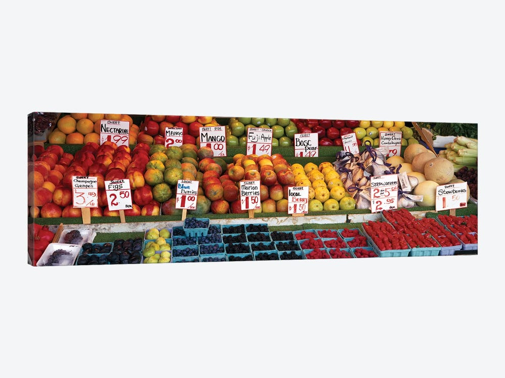 Fruits At A Market Stall, Pike Place Market, Seattle, King County, Washington State, USA by Panoramic Images 1-piece Canvas Art Print