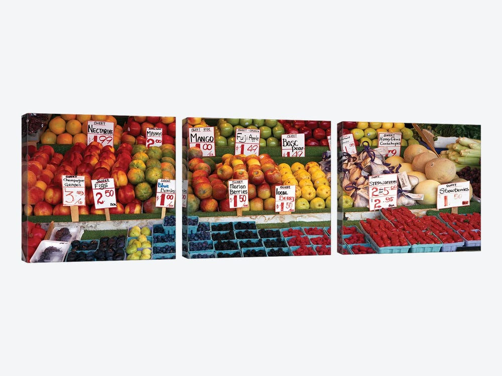 Fruits At A Market Stall, Pike Place Market, Seattle, King County, Washington State, USA by Panoramic Images 3-piece Art Print