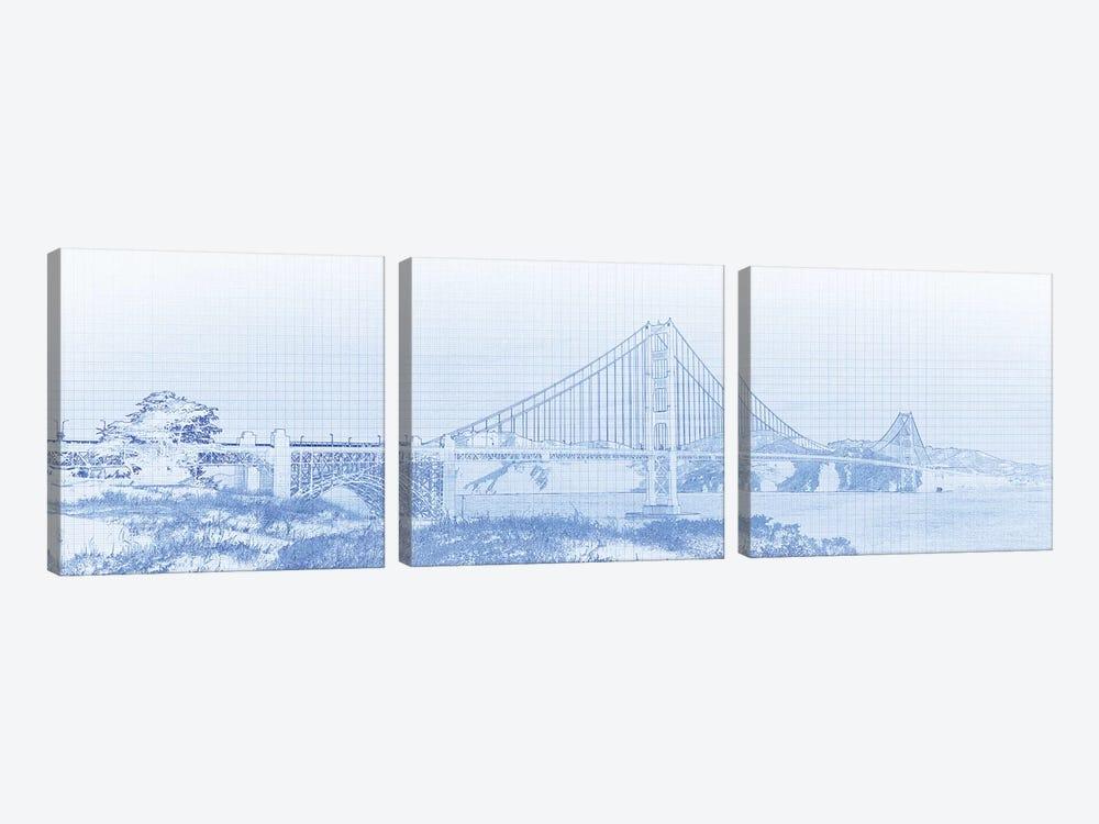 Golden Gate Bridge, San Francisco, San Francisco County, California, USA by Panoramic Images 3-piece Canvas Art