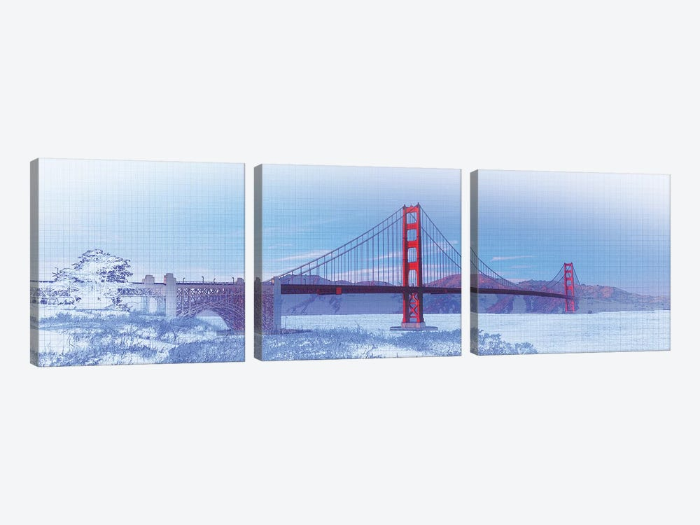 Golden Gate Bridge, San Francisco, San Francisco County, California, USA, Color by Panoramic Images 3-piece Art Print