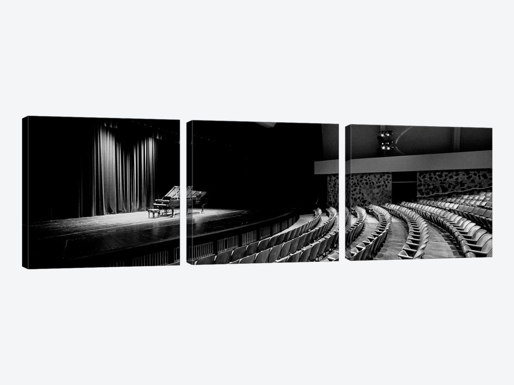 Grand Piano On A Concert Hall Stage, University Of Hawaii, Hilo, Hawaii, USA I by Panoramic Images 3-piece Canvas Print