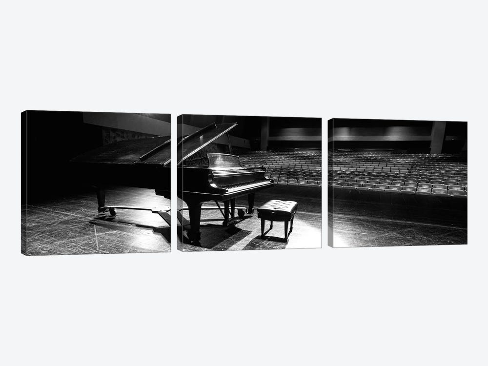 Grand Piano On A Concert Hall Stage, University Of Hawaii, Hilo, Hawaii, USA II by Panoramic Images 3-piece Canvas Wall Art