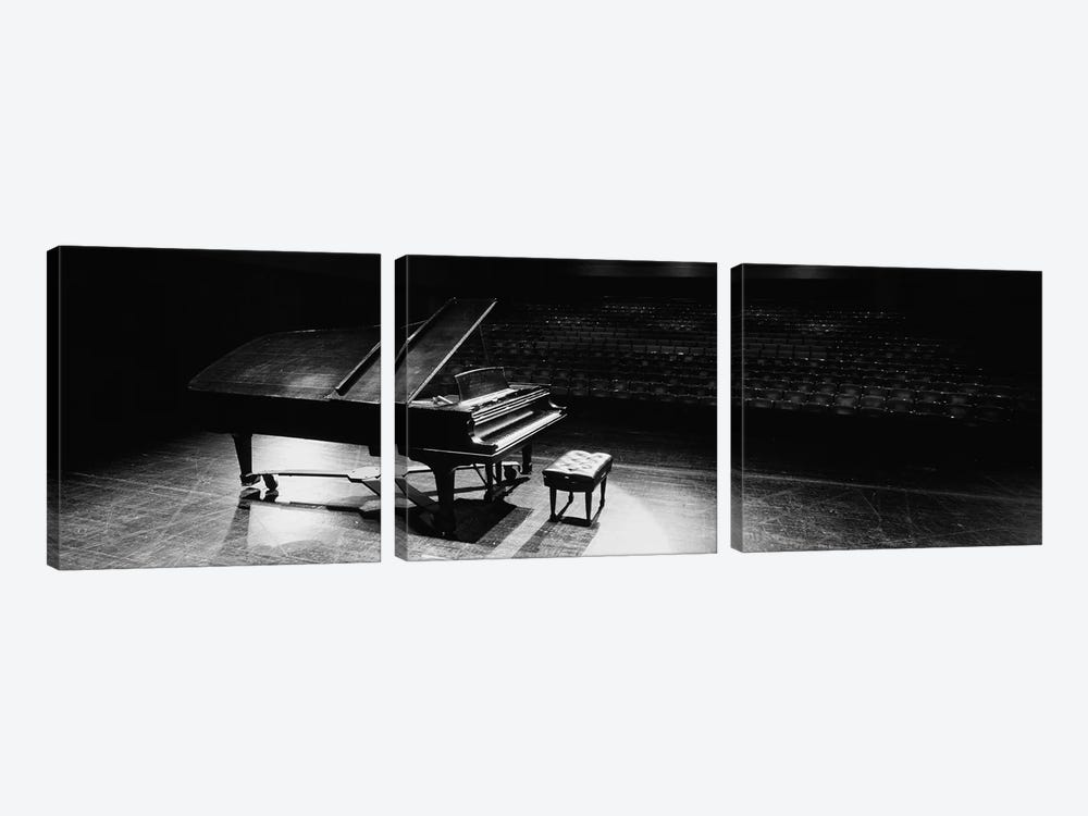 Grand Piano On A Concert Hall Stage, University Of Hawaii, Hilo, Hawaii, USA III by Panoramic Images 3-piece Art Print