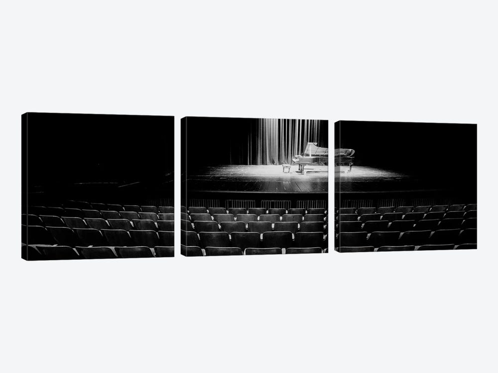 Grand Piano On A Concert Hall Stage, University Of Hawaii, Hilo, Hawaii, USA IV by Panoramic Images 3-piece Canvas Art