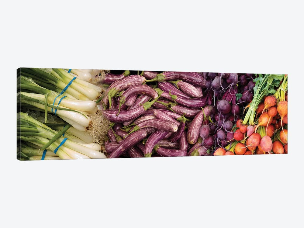 Green Onions, Chinese Eggplant, Red And Golden Beets For Sale by Panoramic Images 1-piece Canvas Art Print
