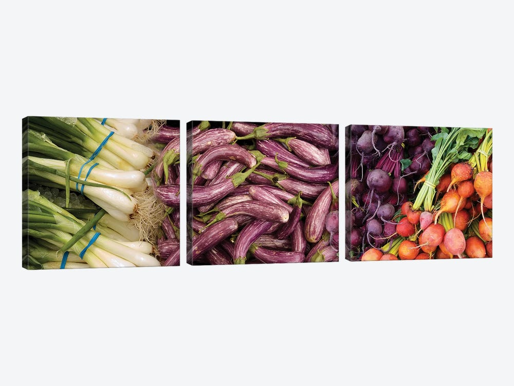 Green Onions, Chinese Eggplant, Red And Golden Beets For Sale by Panoramic Images 3-piece Art Print