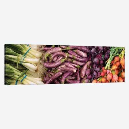 Green Onions, Chinese Eggplant, Red And Golden Beets For Sale Canvas Print #PIM14678} by Panoramic Images Canvas Artwork