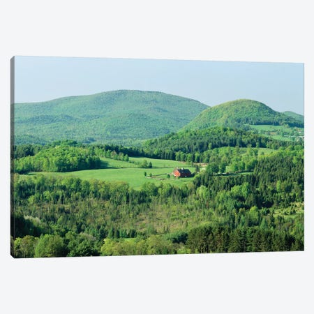 High Angle View Of A Barn In A Field Surrounded By A Forest, Peacham, Caledonia County, Vermont, USA Canvas Print #PIM14685} by Panoramic Images Canvas Wall Art