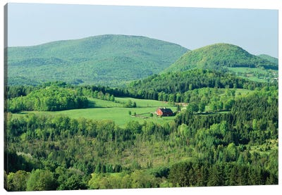 High Angle View Of A Barn In A Field Surrounded By A Forest, Peacham, Caledonia County, Vermont, USA Canvas Art Print