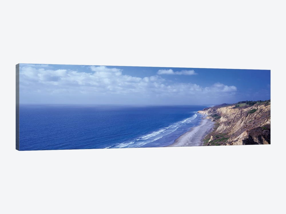 High Angle View Of A Coastline, Torrey Pines State Reserve, La Jolla, San Diego, California, USA by Panoramic Images 1-piece Canvas Artwork