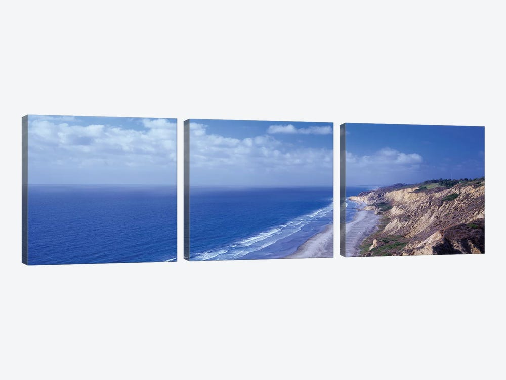 High Angle View Of A Coastline, Torrey Pines State Reserve, La Jolla, San Diego, California, USA by Panoramic Images 3-piece Canvas Wall Art
