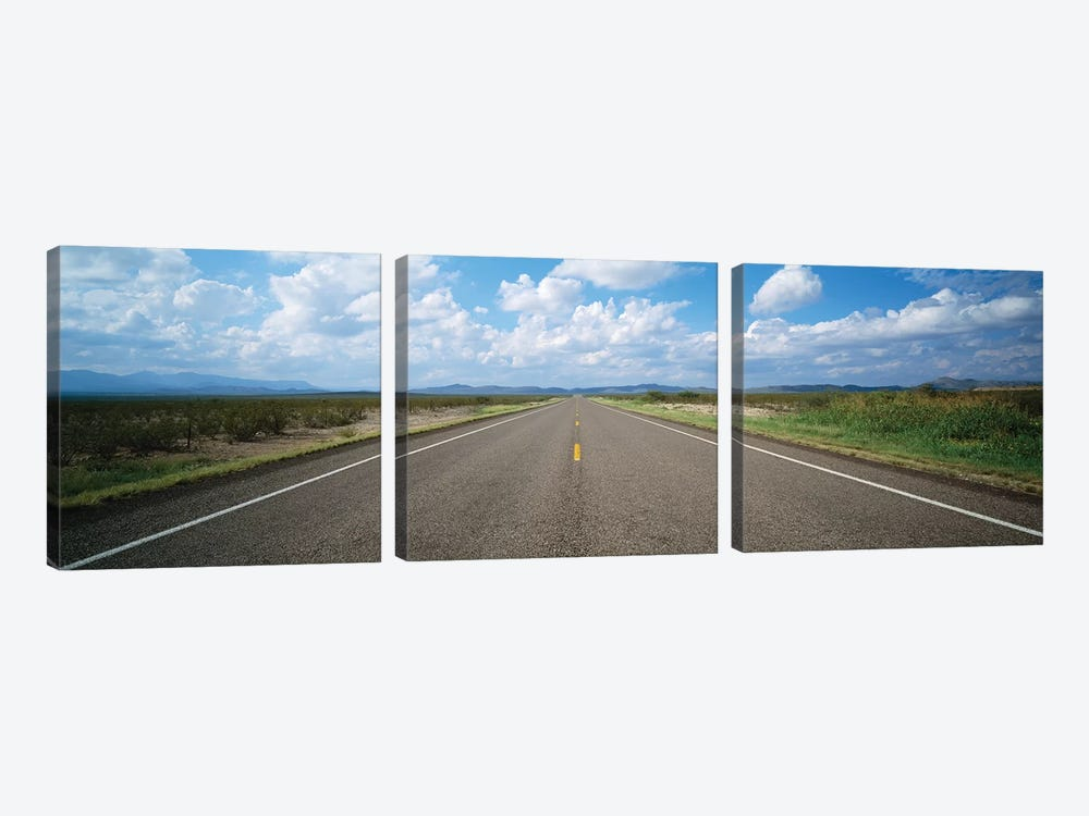 Highway Passing Through A Landscape, Texas, USA by Panoramic Images 3-piece Canvas Art Print