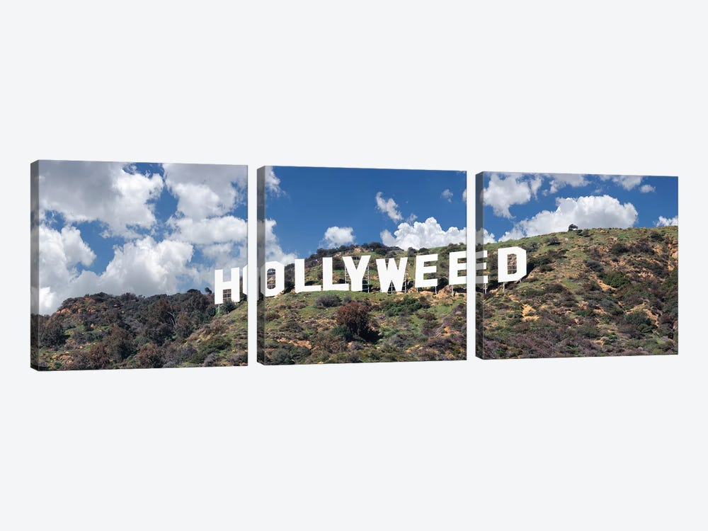 Hollywood Sign Changed To Hollyweed, Los Angeles, California, USA by Panoramic Images 3-piece Canvas Wall Art