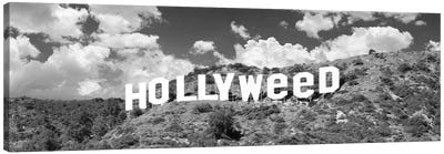 Hollywood Sign Changed To Hollyweed, Los Angeles, California, USA (Black And White) Canvas Art Print