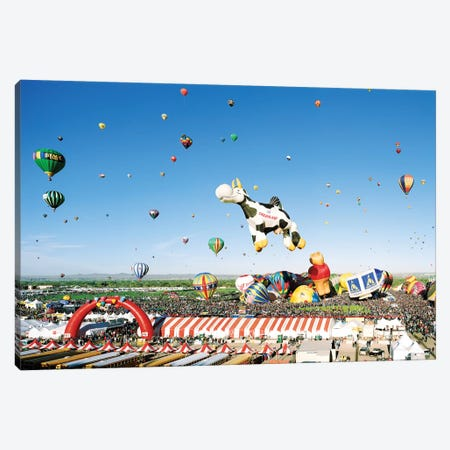 Hot Air Balloons Aloft At The Albuquerque International Balloon Festival, Albuquerque, New Mexico Canvas Print #PIM14694} by Panoramic Images Canvas Print