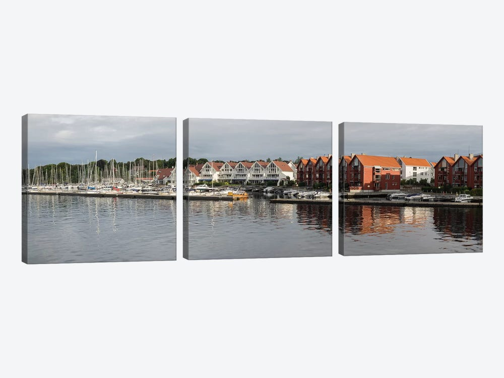 Houses At The Waterfront, Grasholmen, Stavanger, Rogaland County, Norway by Panoramic Images 3-piece Canvas Print