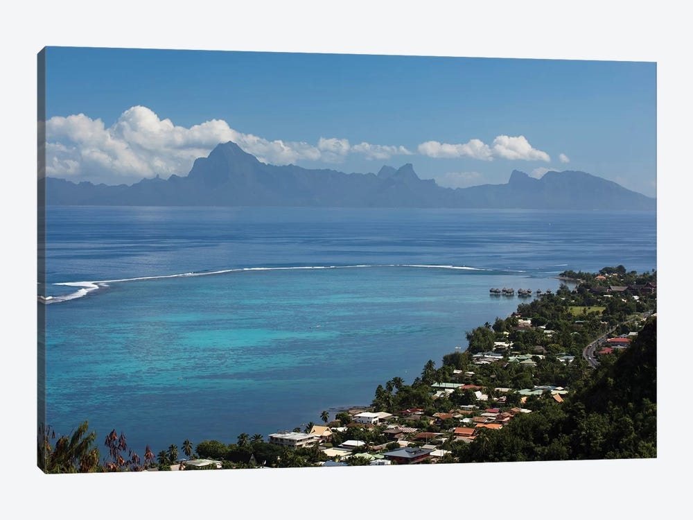 Houses In A Village On The Coast, Moorea, Tahiti, French Polynesia by Panoramic Images 1-piece Canvas Art