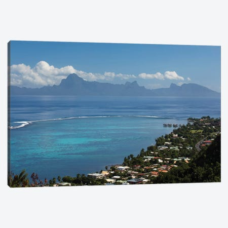Houses In A Village On The Coast, Moorea, Tahiti, French Polynesia Canvas Print #PIM14697} by Panoramic Images Canvas Print
