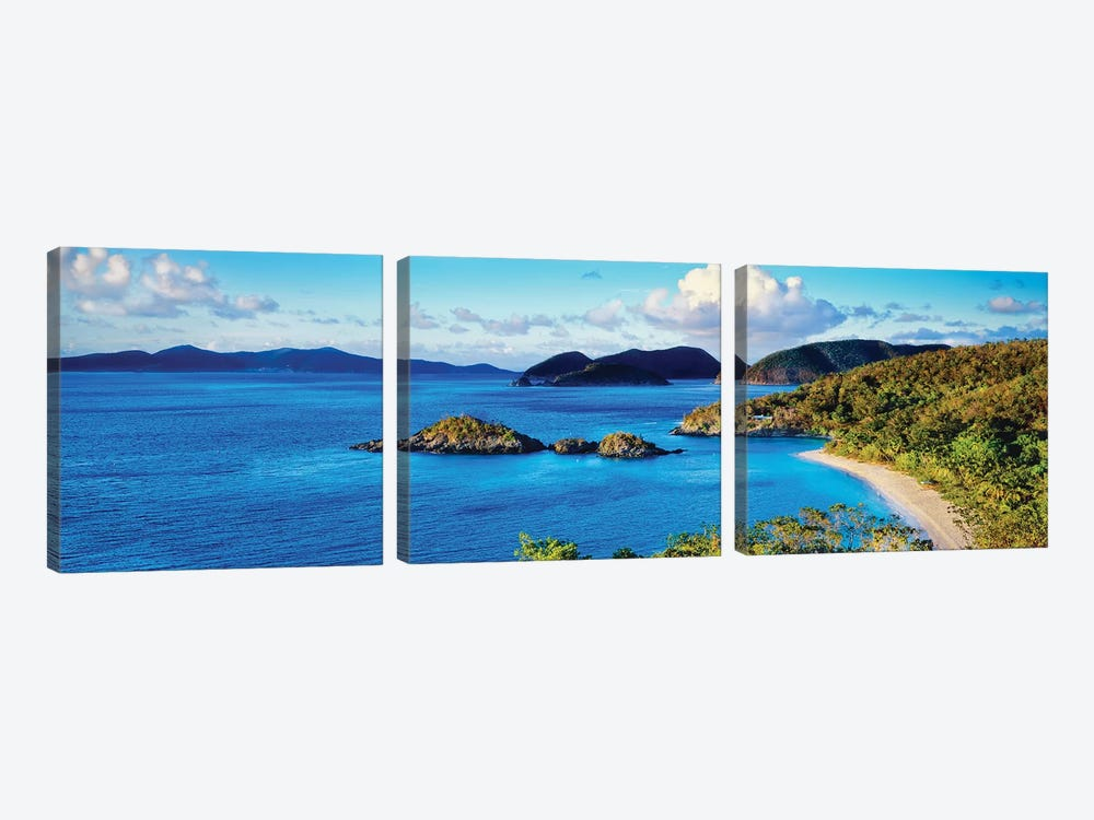 Islands In The Sea, Trunk Bay, Saint John, U.S. Virgin Islands by Panoramic Images 3-piece Canvas Print