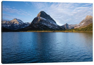 Lake With Mountain Range In The Background, Glacier National Park, Montana, USA Canvas Art Print