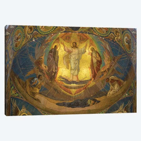 Low Angle View Of Mosaic On Ceiling, Church Of The Savior On Blood, St. Petersburg, Russia Canvas Print #PIM14728} by Panoramic Images Canvas Artwork