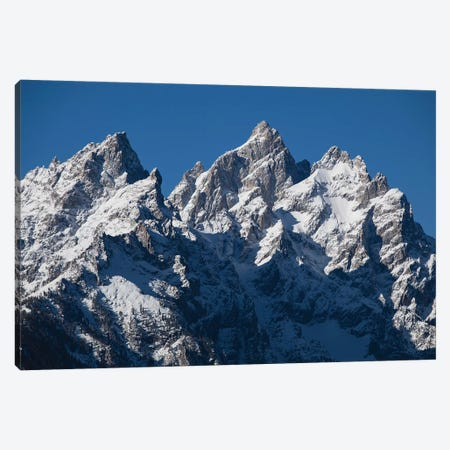Low Angle View Of Snowcapped Mountain Range, Teton Range, Grand Teton National Park, Wyoming, USA I Canvas Print #PIM14731} by Panoramic Images Art Print