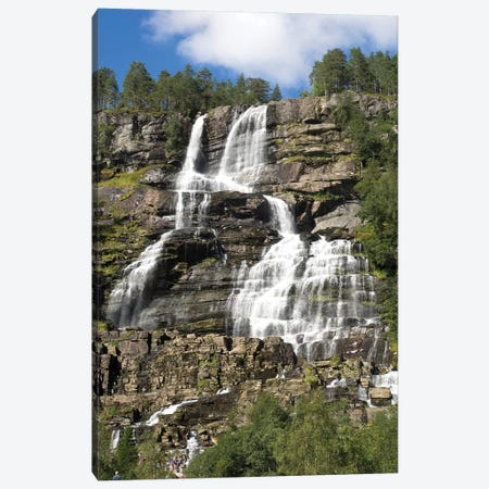 Low Angle View Of Tvindefossen Waterfall, Voss, Hordaland County, Norway Canvas Print #PIM14734} by Panoramic Images Canvas Wall Art
