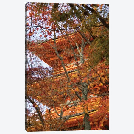 Main Pagoda At Kiyomizu-Dera Temple Seen Through Fall Foliage, Kyoti Prefecture, Japan Canvas Print #PIM14737} by Panoramic Images Canvas Wall Art
