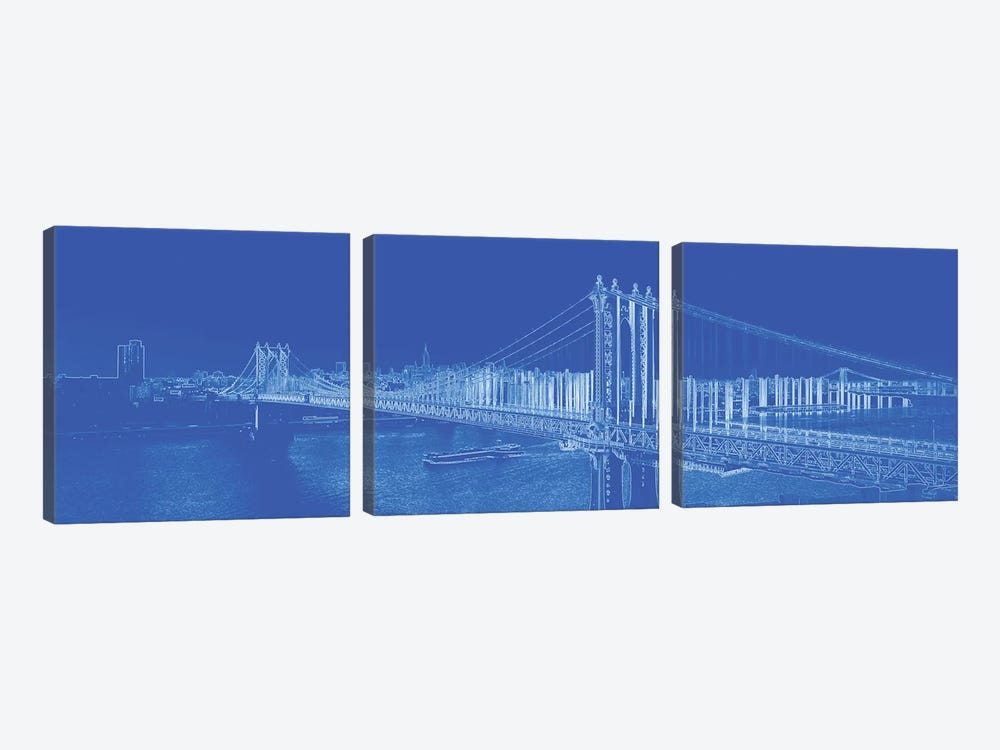 Manhattan Bridge Over The East River, NYC, USA 3-piece Canvas Wall Art