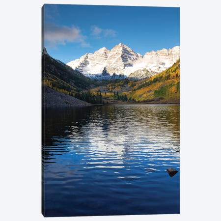 Maroon Lake, Maroon Bells, Maroon Creek Valley, Aspen, Pitkin County, Colorado, USA I Canvas Print #PIM14739} by Panoramic Images Art Print