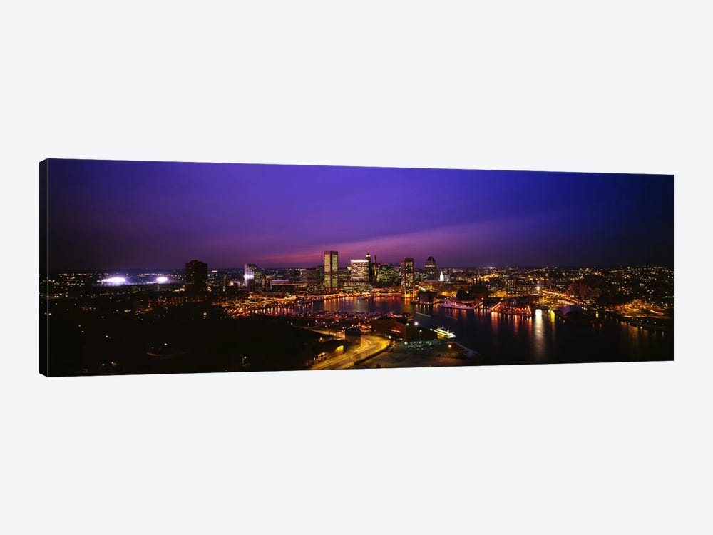 Aerial view of a city lit up at duskBaltimore, Maryland, USA by Panoramic Images 1-piece Art Print