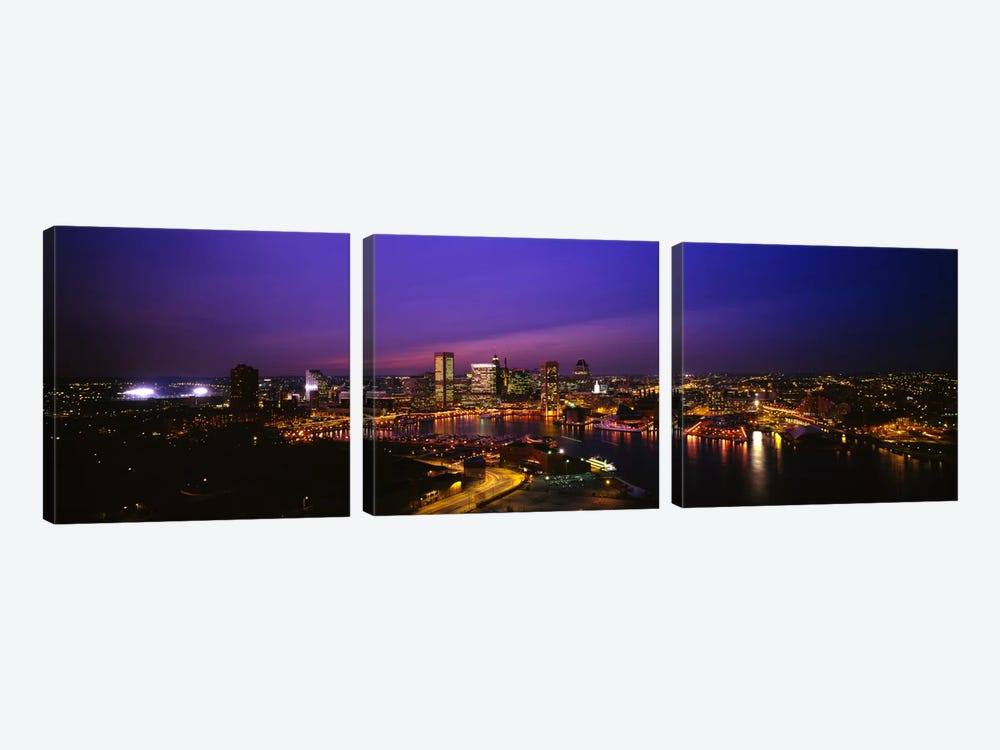 Aerial view of a city lit up at duskBaltimore, Maryland, USA by Panoramic Images 3-piece Canvas Art Print
