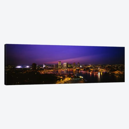 Aerial view of a city lit up at duskBaltimore, Maryland, USA Canvas Print #PIM1473} by Panoramic Images Canvas Art