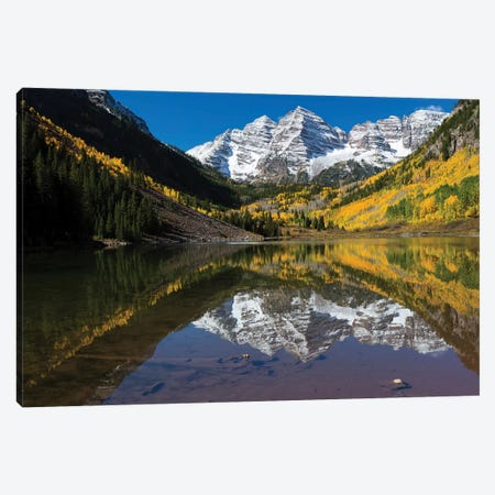 Maroon Lake, Maroon Bells, Maroon Creek Valley, Aspen, Pitkin County, Colorado, USA II Canvas Print #PIM14740} by Panoramic Images Canvas Artwork