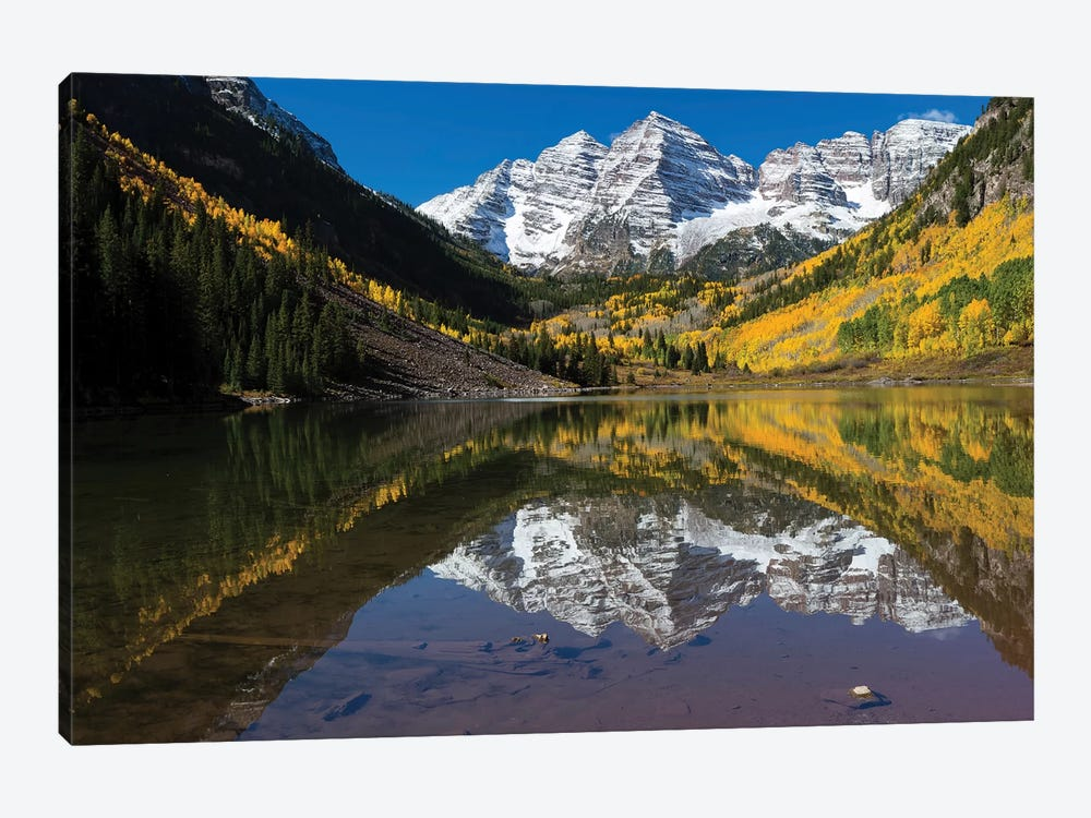 Maroon Lake, Maroon Bells, Maroon Creek Valley, Aspen, Pitkin County, Colorado, USA II by Panoramic Images 1-piece Art Print