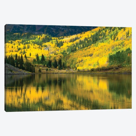 Maroon Lake, Maroon Bells, Maroon Creek Valley, Aspen, Pitkin County, Colorado, USA III Canvas Print #PIM14741} by Panoramic Images Canvas Artwork