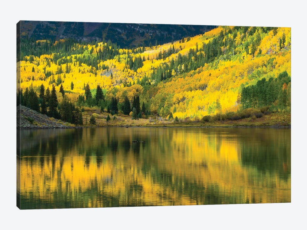 Maroon Lake, Maroon Bells, Maroon Creek Valley, Aspen, Pitkin County, Colorado, USA III by Panoramic Images 1-piece Canvas Artwork