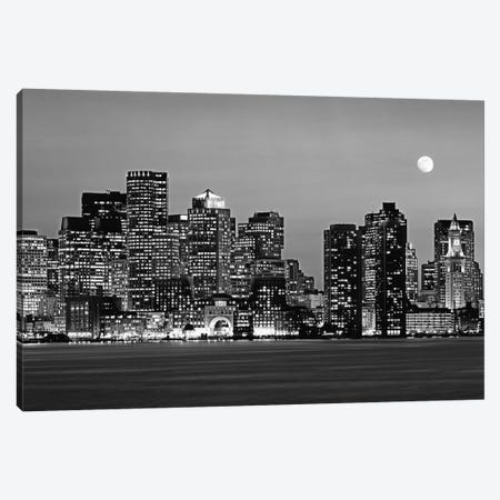 Massachusetts, Boston At Night (Black And White) Canvas Print #PIM14745} by Panoramic Images Art Print